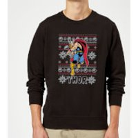 Marvel Comics The Mighty Thor Christmas Knit Black Christmas Sweatshirt - S - Black