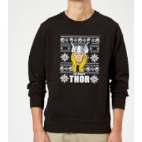Marvel Comics The Mighty Thor Face Christmas Knit Black Christmas Sweatshirt - L - Black
