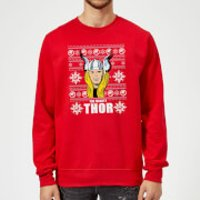 Marvel Comics The Mighty Thor Face Christmas Knit Red Christmas Sweatshirt - S - Red