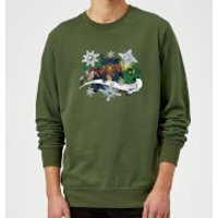 Marvel Comics Thor Ironman Hulk Snowflake Green Christmas Sweatshirt - S - Green