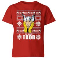 Marvel Thor Face Kids' Christmas T-Shirt - Red - 5-6 Years - Red