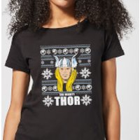 Marvel Thor Face Women's Christmas T-Shirt - Black - L - Black
