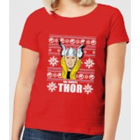 Marvel Thor Face Women's Christmas T-Shirt - Red - S - Red