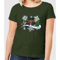 Marvel Thor Iron Man Hulk Snowflake Women's Christmas T-Shirt - Forest Green - M - Forest Green